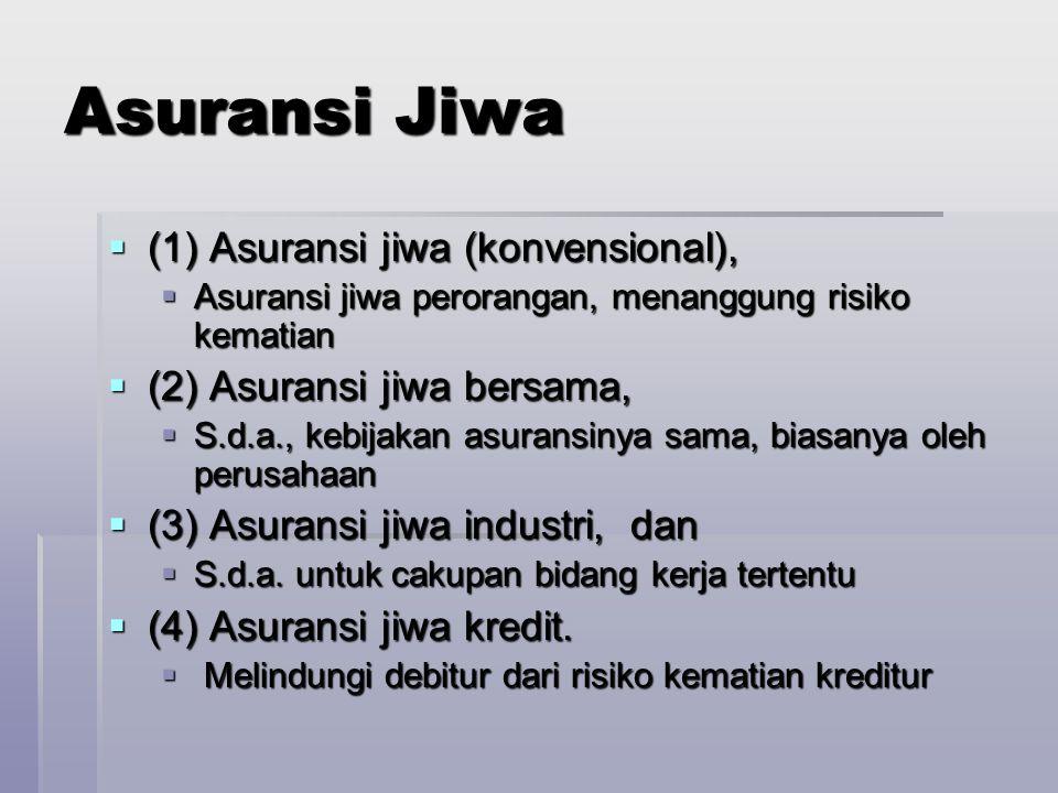 Asuransi Jiwa (1) Asuransi jiwa (konvensional),