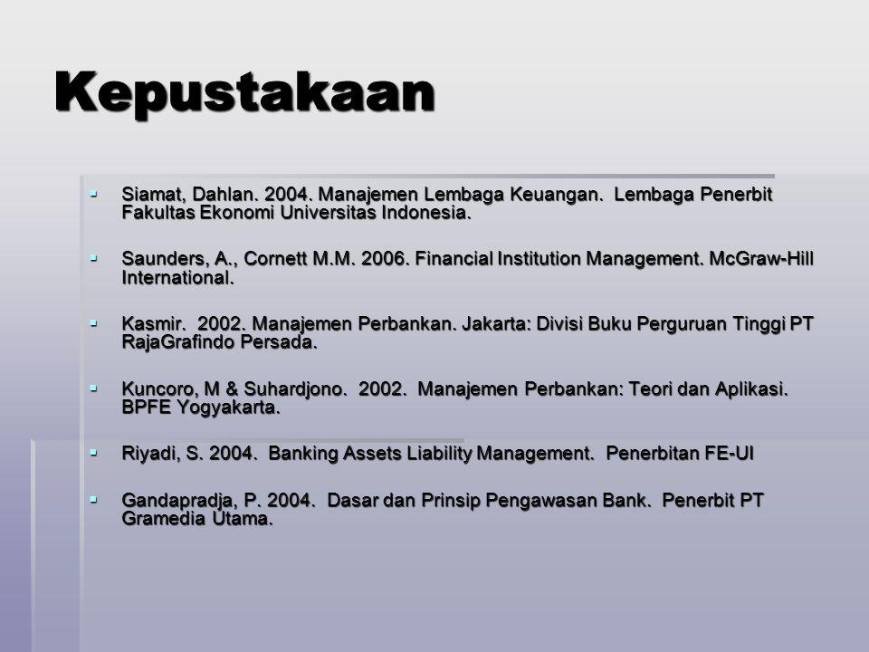 Kepustakaan Siamat, Dahlan. 2004. Manajemen Lembaga Keuangan. Lembaga Penerbit Fakultas Ekonomi Universitas Indonesia.