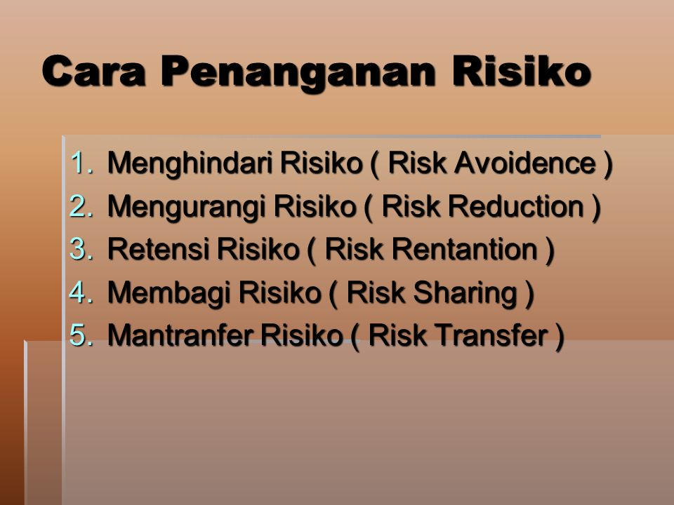 Cara Penanganan Risiko