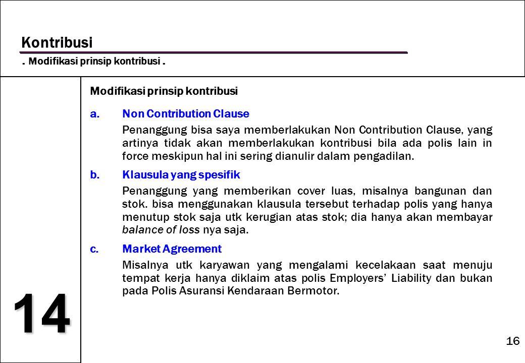 14 Kontribusi . Modifikasi prinsip kontribusi .