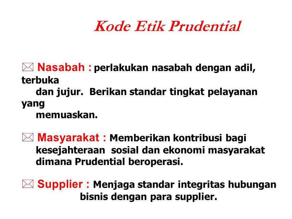 Kode Etik Prudential Nasabah : perlakukan nasabah dengan adil, terbuka dan jujur. Berikan standar tingkat pelayanan yang memuaskan.