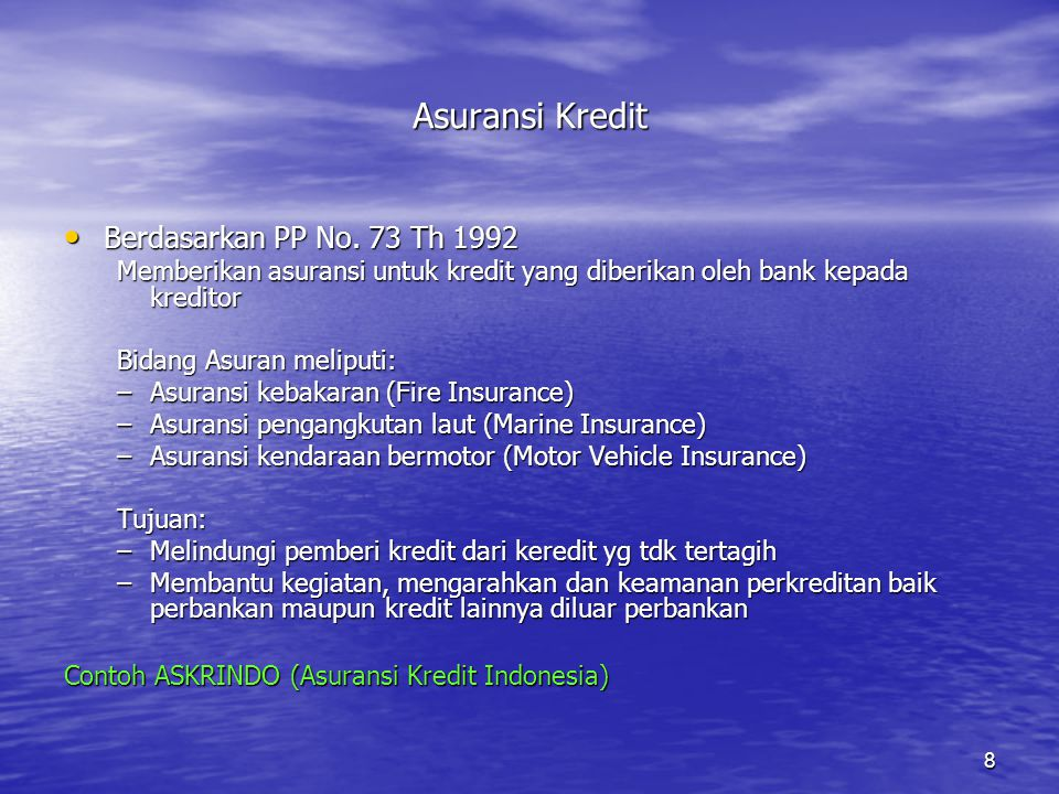 Asuransi Kredit Berdasarkan PP No. 73 Th 1992