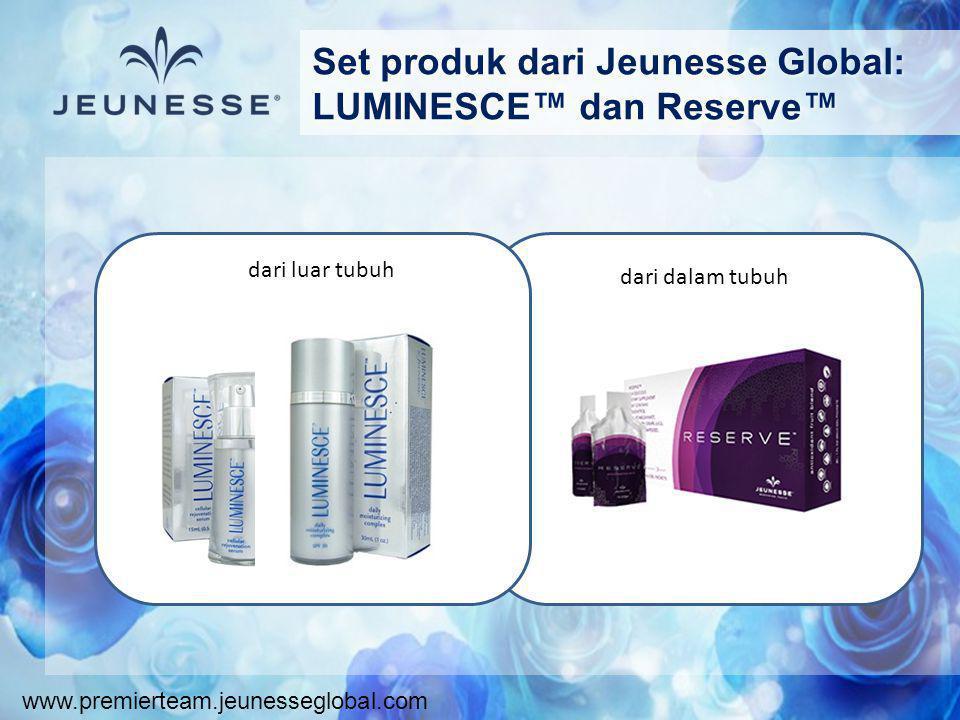 Set produk dari Jeunesse Global: LUMINESCE™ dan Reserve™