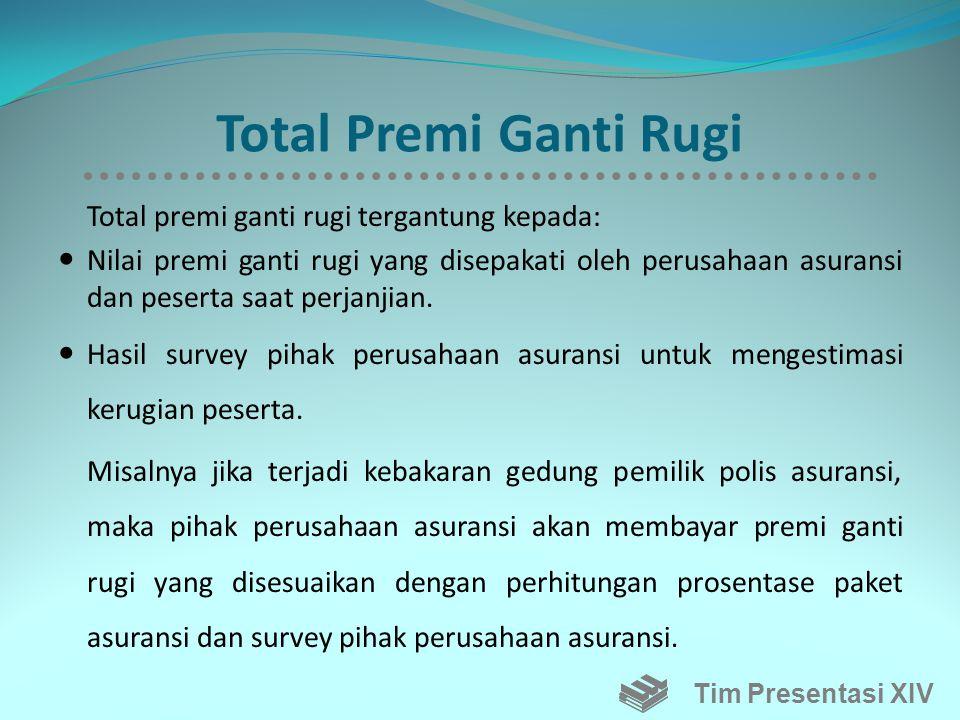 Total Premi Ganti Rugi Total premi ganti rugi tergantung kepada: