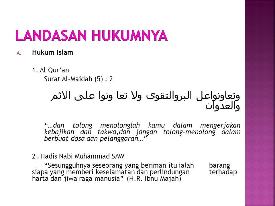 LANDASAN HUKUMNYA Hukum Islam. 1. Al Qur'an. Surat Al-Maidah (5) : 2. وتعاونواعل البروالتقوى ولا تعا ونوا على الاثم والعدوان.