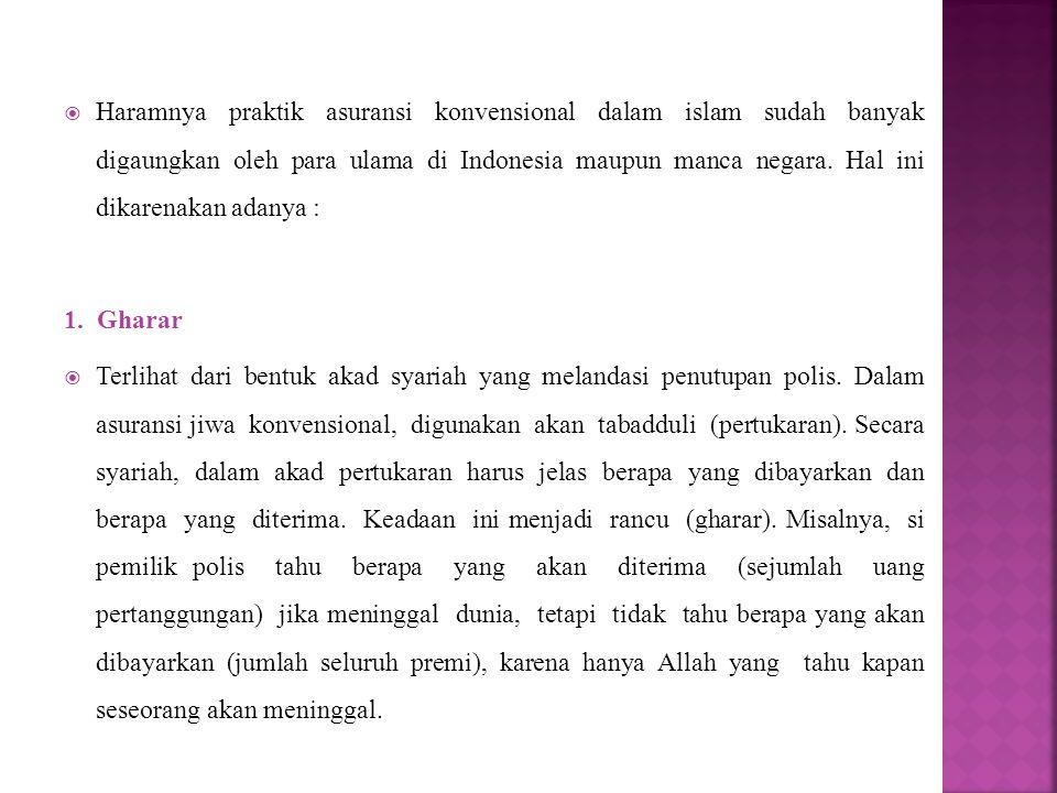 Haramnya praktik asuransi konvensional dalam islam sudah banyak digaungkan oleh para ulama di Indonesia maupun manca negara. Hal ini dikarenakan adanya :