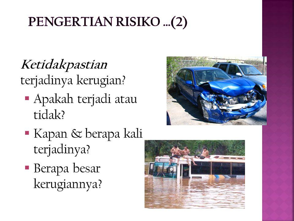 PENGERTIAN RISIKO …(2) Ketidakpastian terjadinya kerugian Apakah terjadi atau tidak Kapan & berapa kali terjadinya