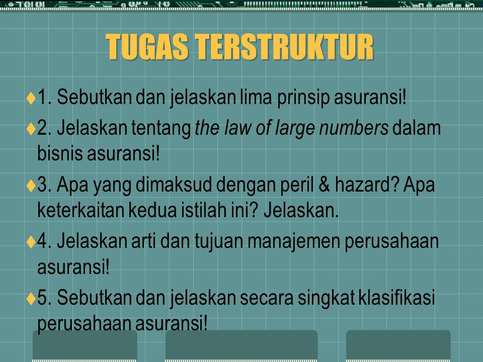 TUGAS TERSTRUKTUR 1. Sebutkan dan jelaskan lima prinsip asuransi!