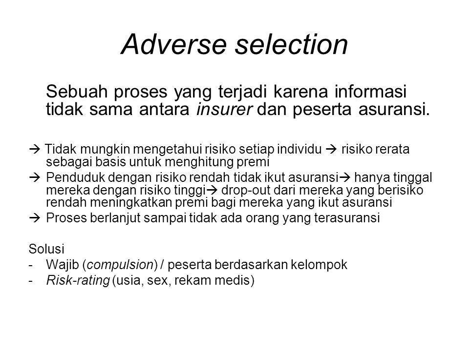 Adverse selection Sebuah proses yang terjadi karena informasi tidak sama antara insurer dan peserta asuransi.