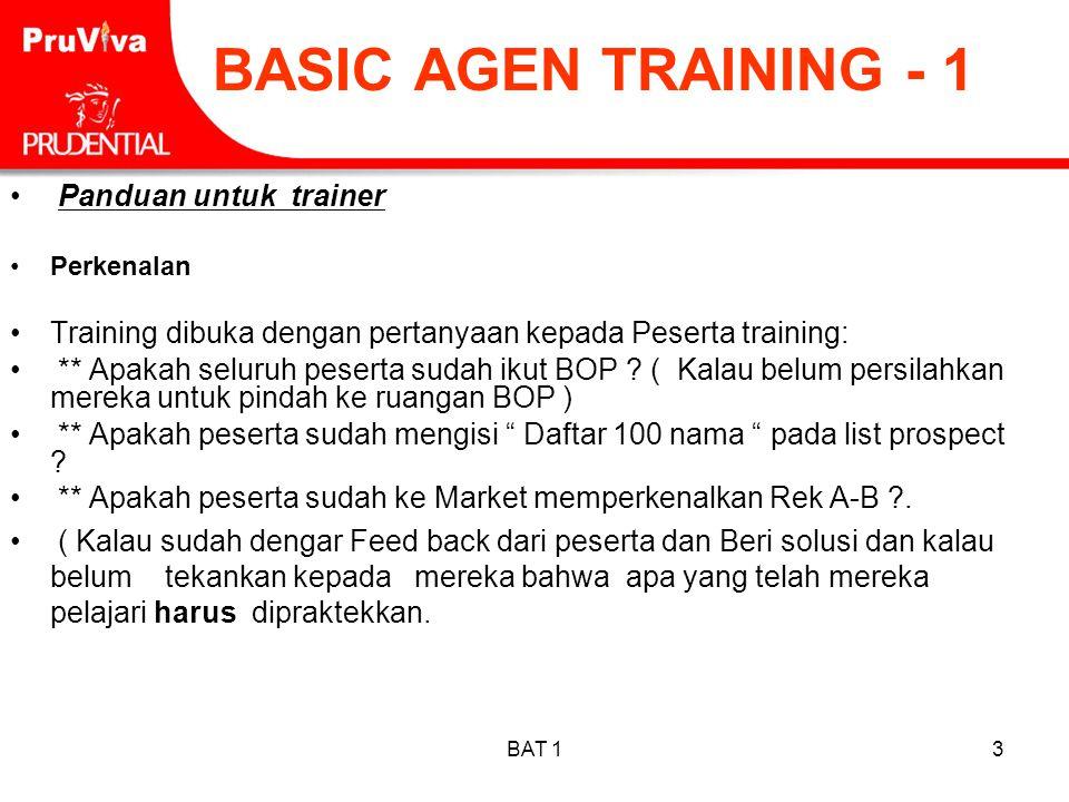BASIC AGEN TRAINING - 1 Panduan untuk trainer