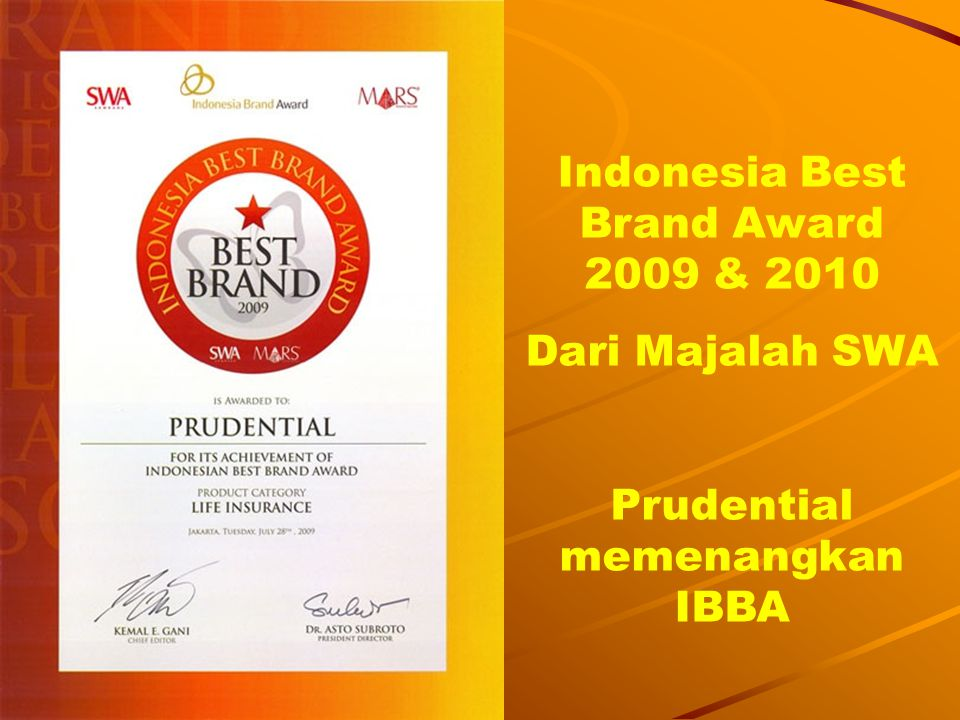Indonesia Best Brand Award 2009 & 2010 Prudential memenangkan IBBA