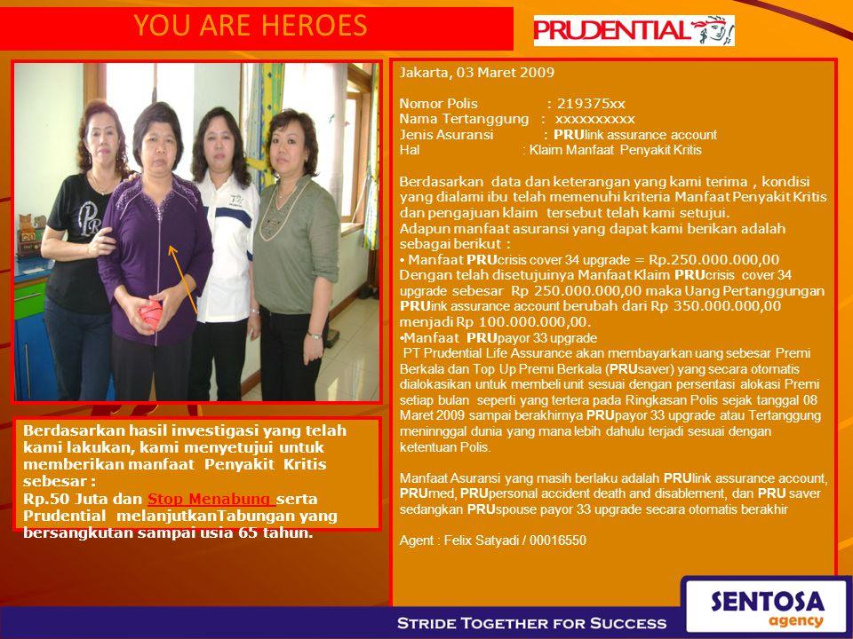YOU ARE HEROES Jakarta, 03 Maret 2009. Nomor Polis : 219375xx. Nama Tertanggung : xxxxxxxxxx.