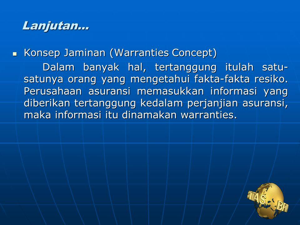 Lanjutan... Konsep Jaminan (Warranties Concept)