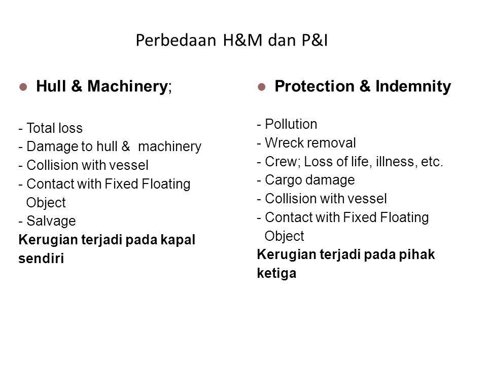 Perbedaan H&M dan P&I Hull & Machinery; Protection & Indemnity
