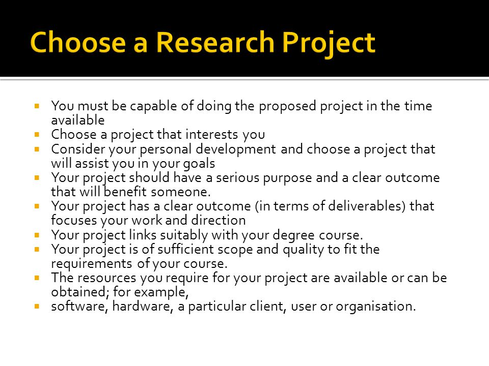 Choose a Research Project