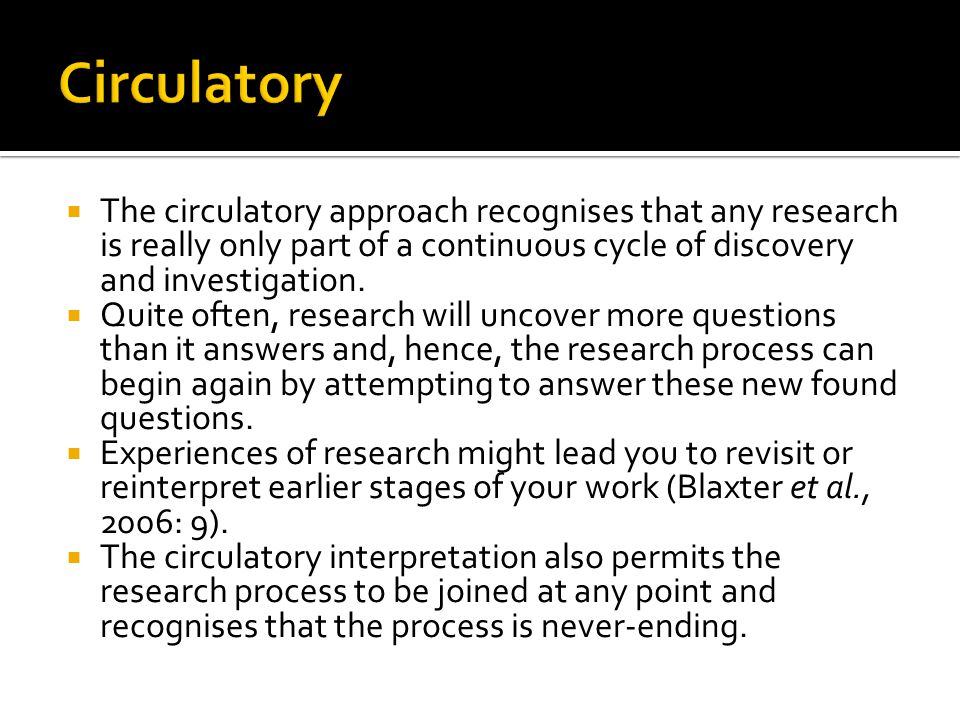 Circulatory The circulatory approach recognises that any research is really only part of a continuous cycle of discovery and investigation.