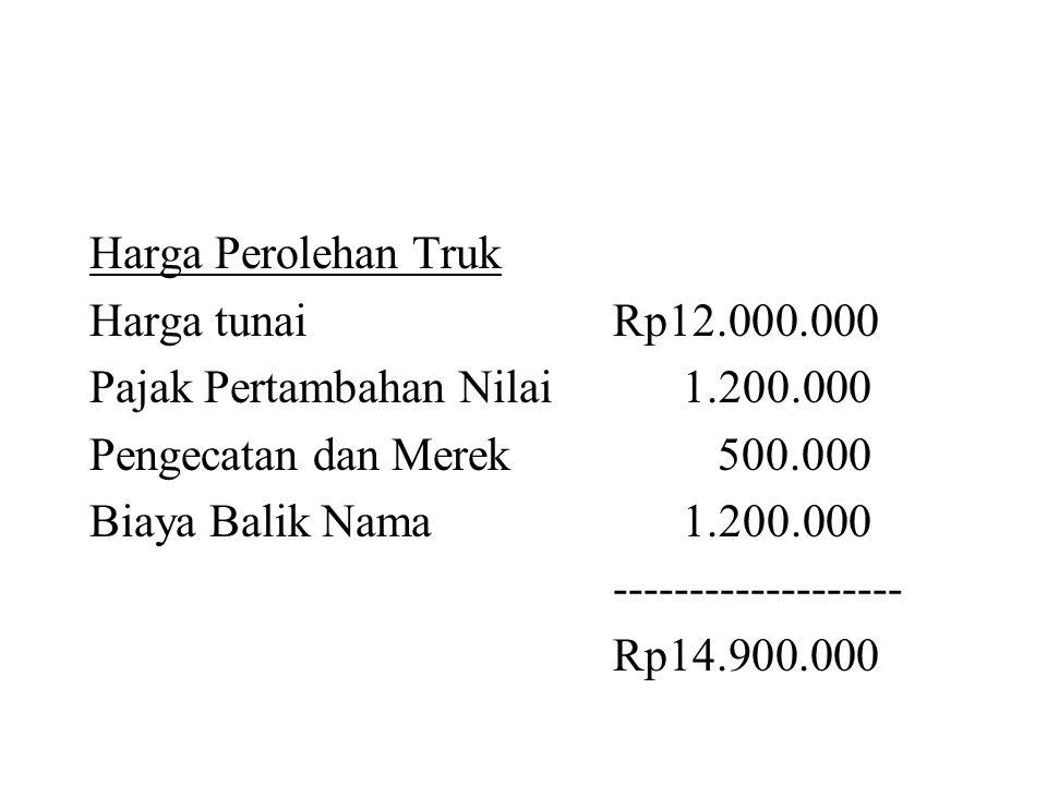 Harga Perolehan Truk Harga tunai Rp12.000.000. Pajak Pertambahan Nilai 1.200.000. Pengecatan dan Merek 500.000.