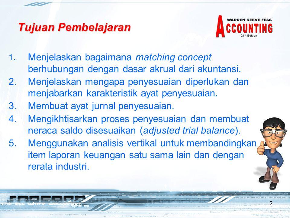 Tujuan Pembelajaran Menjelaskan bagaimana matching concept berhubungan dengan dasar akrual dari akuntansi.