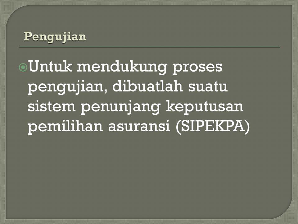 Pengujian Untuk mendukung proses pengujian, dibuatlah suatu sistem penunjang keputusan pemilihan asuransi (SIPEKPA)