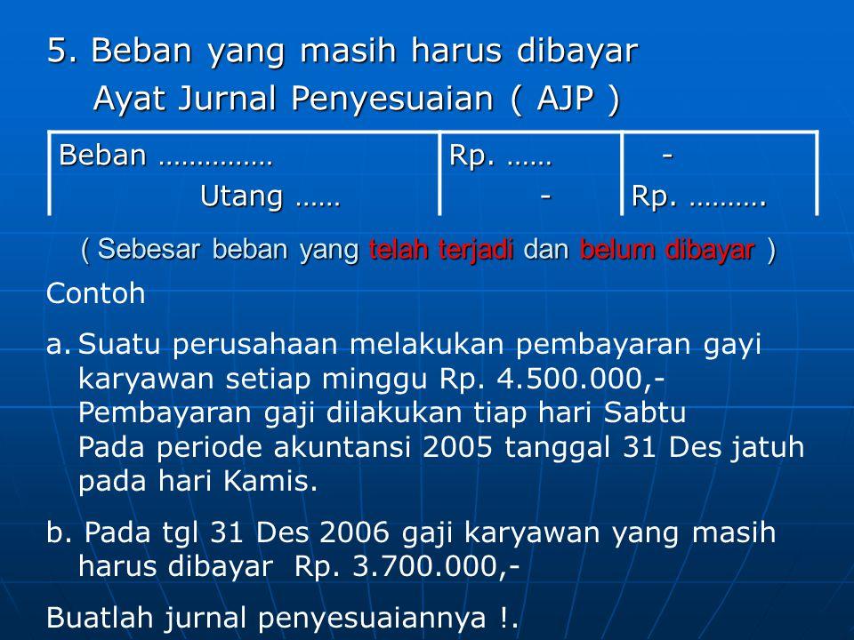 5. Beban yang masih harus dibayar Ayat Jurnal Penyesuaian ( AJP )