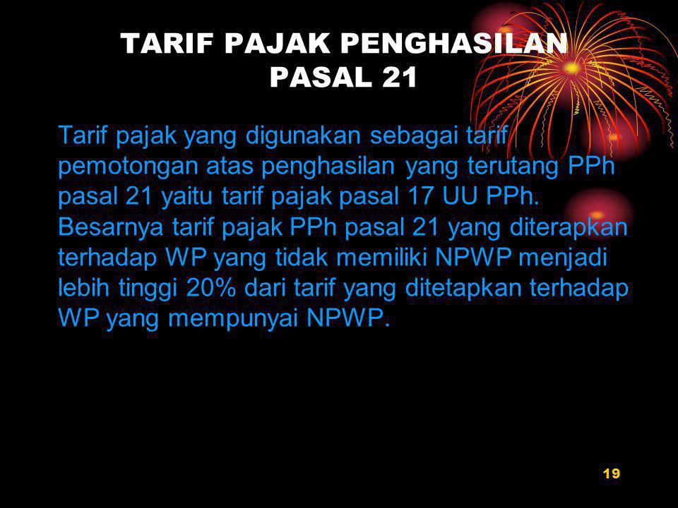 TARIF PAJAK PENGHASILAN PASAL 21