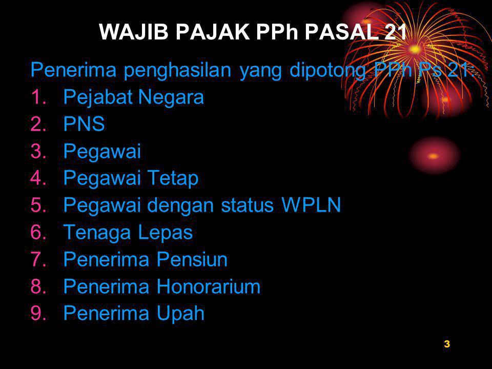 WAJIB PAJAK PPh PASAL 21 Penerima penghasilan yang dipotong PPh Ps 21: