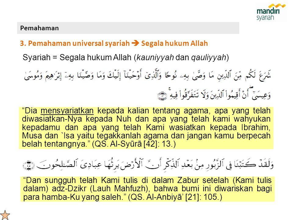3. Pemahaman universal syariah  Segala hukum Allah