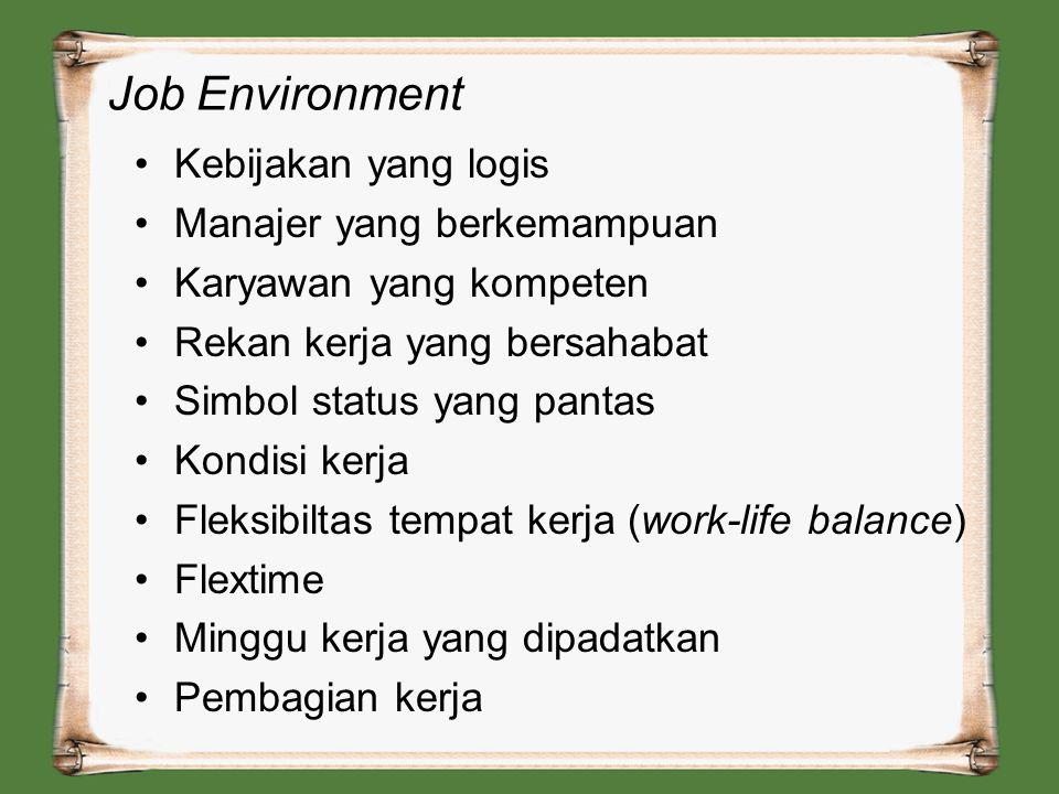 Job Environment Kebijakan yang logis Manajer yang berkemampuan