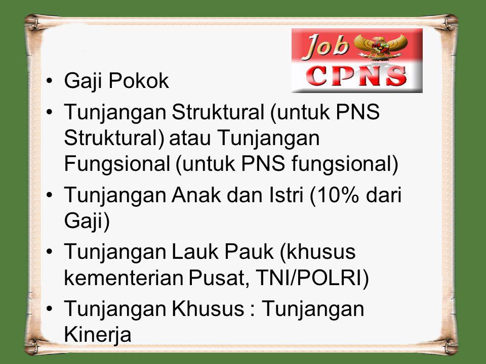 Gaji Pokok Tunjangan Struktural (untuk PNS Struktural) atau Tunjangan Fungsional (untuk PNS fungsional)