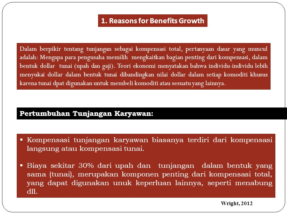 1. Reasons for Benefits Growth
