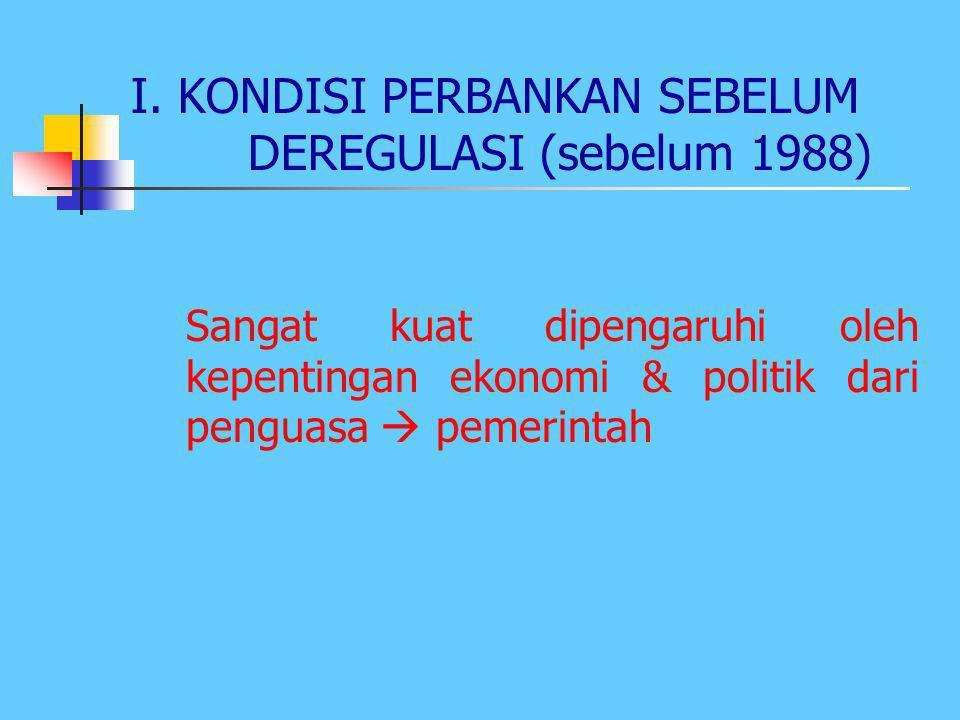 I. KONDISI PERBANKAN SEBELUM DEREGULASI (sebelum 1988)