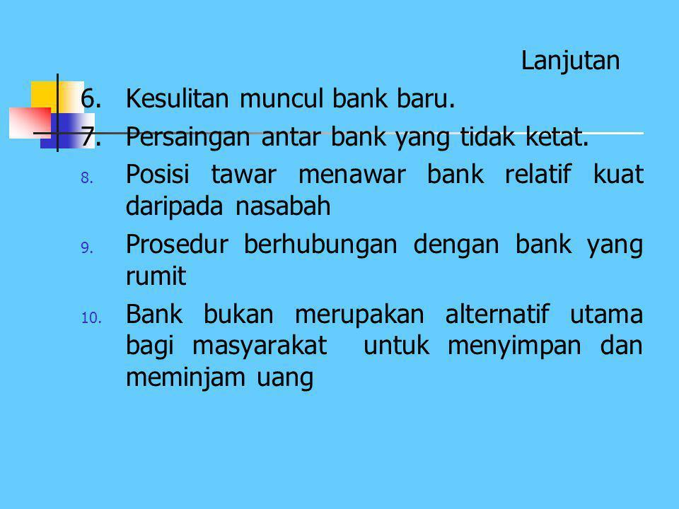 Lanjutan 6. Kesulitan muncul bank baru. 7. Persaingan antar bank yang tidak ketat. Posisi tawar menawar bank relatif kuat daripada nasabah.