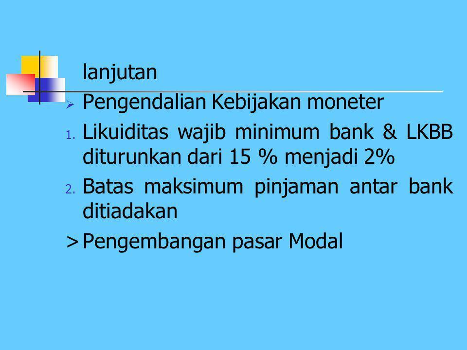 lanjutan Pengendalian Kebijakan moneter. Likuiditas wajib minimum bank & LKBB diturunkan dari 15 % menjadi 2%