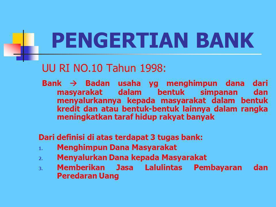 PENGERTIAN BANK UU RI NO.10 Tahun 1998: