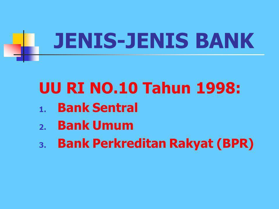 JENIS-JENIS BANK UU RI NO.10 Tahun 1998: Bank Sentral Bank Umum