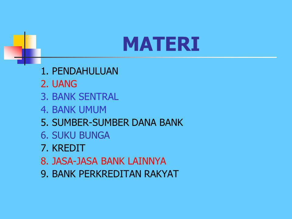 MATERI 1. PENDAHULUAN 2. UANG 3. BANK SENTRAL 4. BANK UMUM