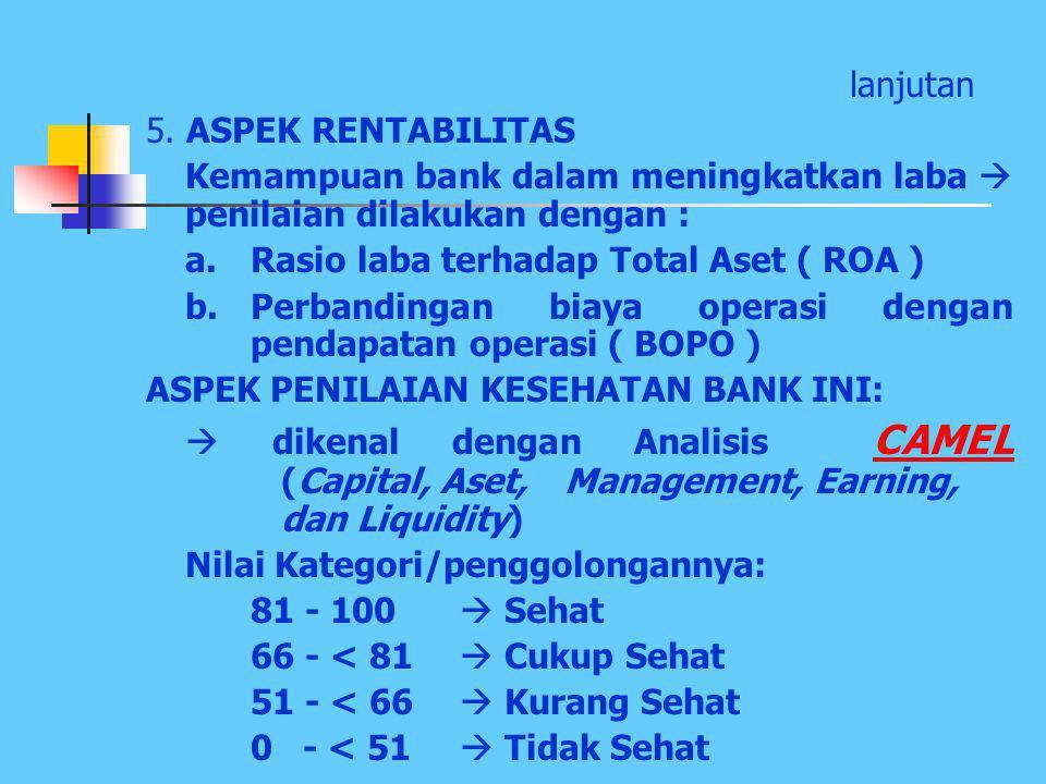 lanjutan 5. ASPEK RENTABILITAS. Kemampuan bank dalam meningkatkan laba  penilaian dilakukan dengan :