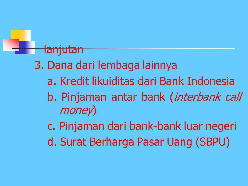 lanjutan 3. Dana dari lembaga lainnya. a. Kredit likuiditas dari Bank Indonesia. b. Pinjaman antar bank (interbank call money)