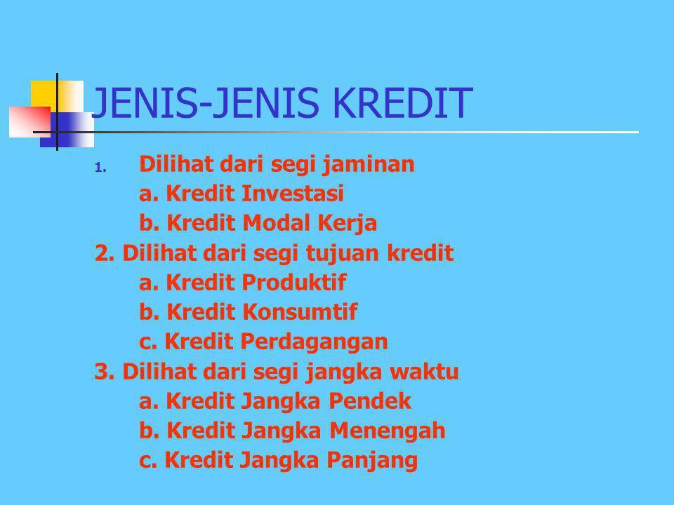 JENIS-JENIS KREDIT Dilihat dari segi jaminan a. Kredit Investasi