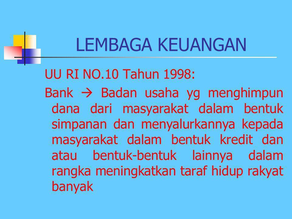 LEMBAGA KEUANGAN UU RI NO.10 Tahun 1998: