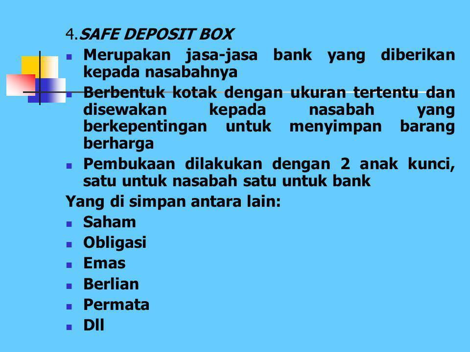 4.SAFE DEPOSIT BOX Merupakan jasa-jasa bank yang diberikan kepada nasabahnya.