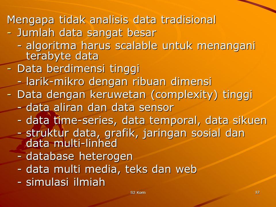 Mengapa tidak analisis data tradisional Jumlah data sangat besar