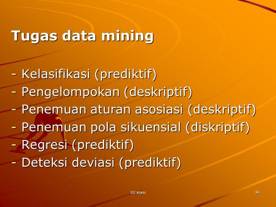 Tugas data mining Kelasifikasi (prediktif) Pengelompokan (deskriptif)