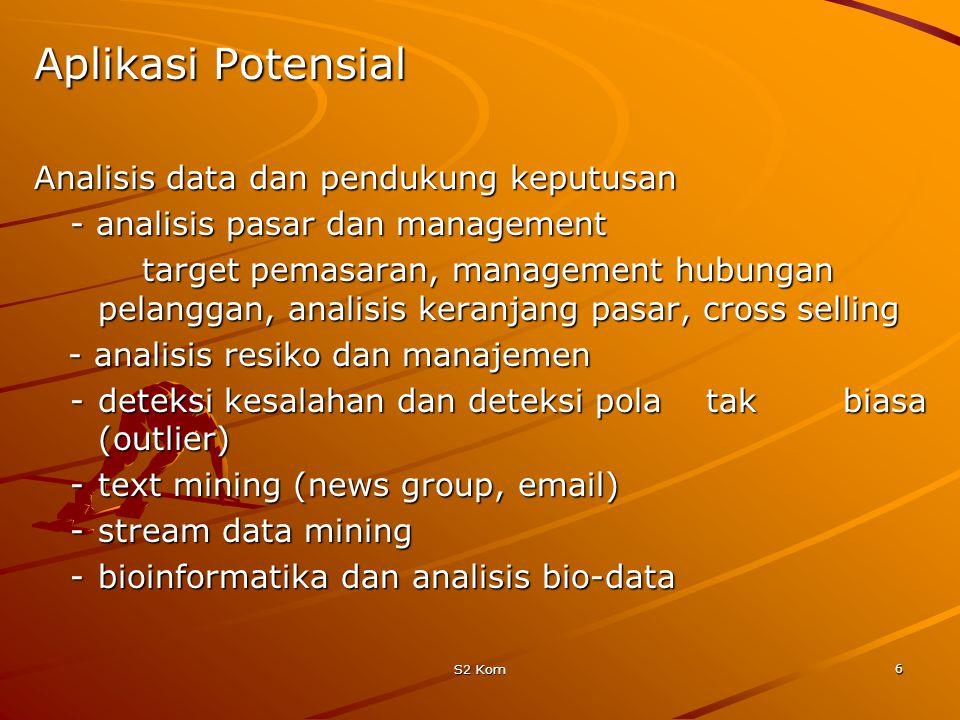 Aplikasi Potensial Analisis data dan pendukung keputusan