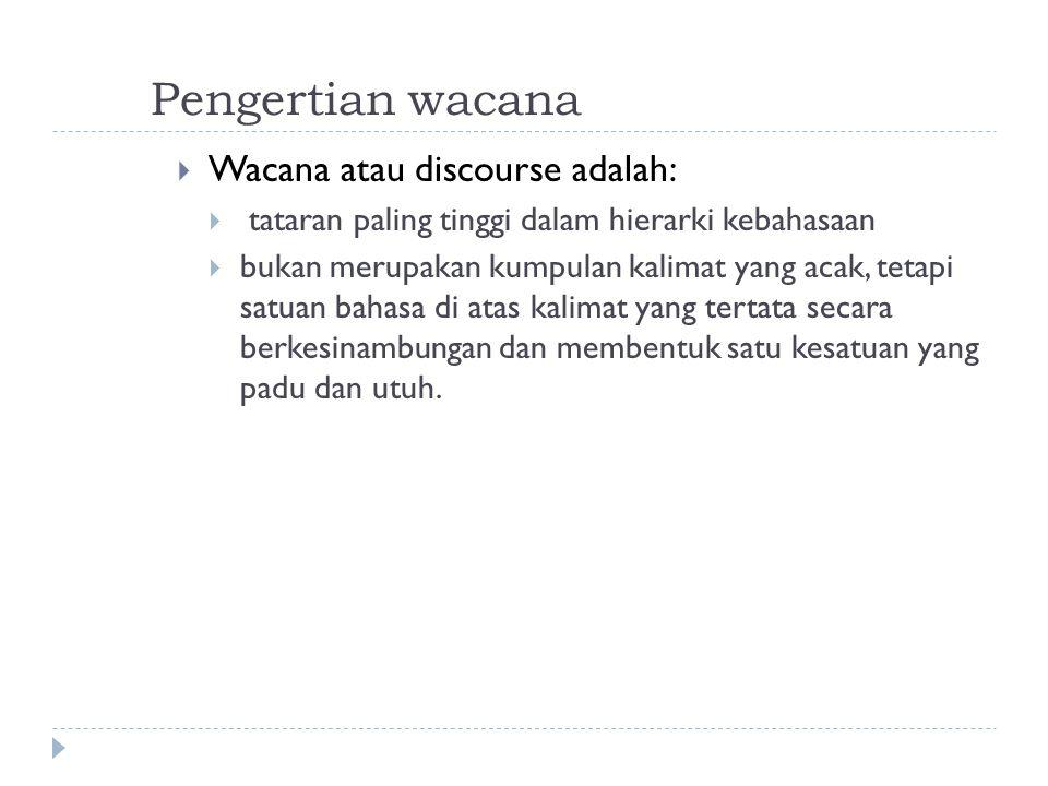 Pengertian wacana Wacana atau discourse adalah: