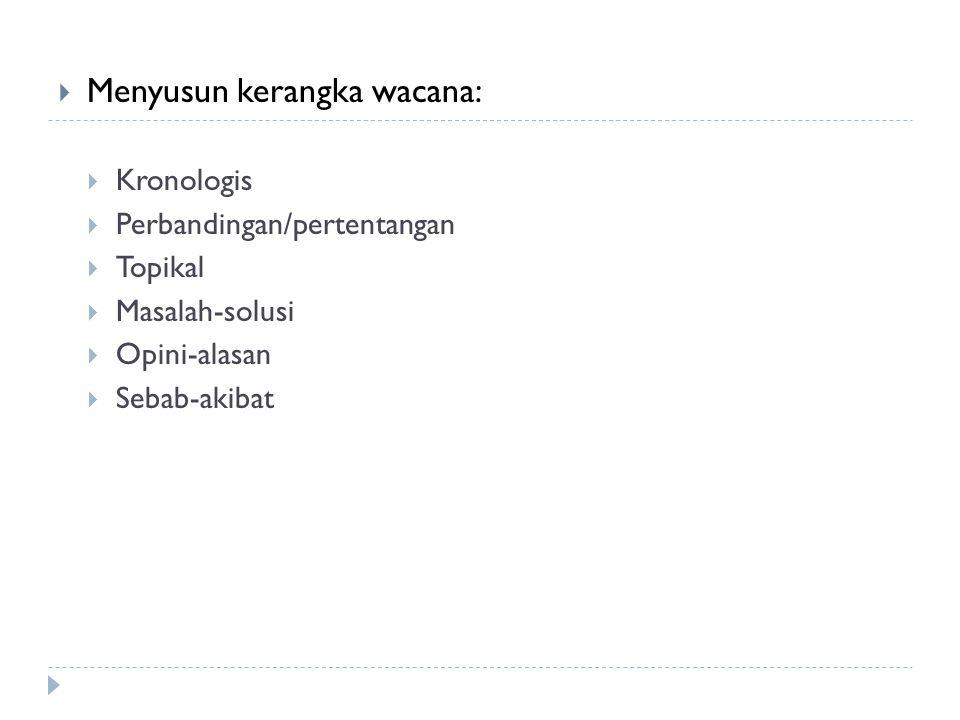 Menyusun kerangka wacana: