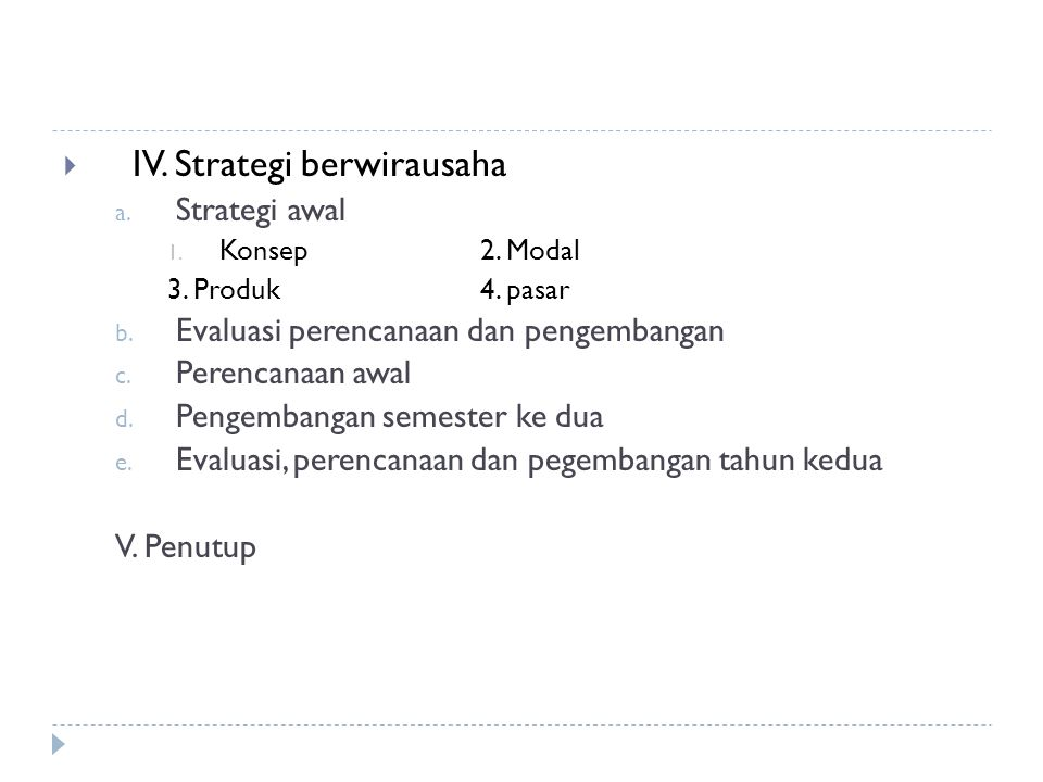 IV. Strategi berwirausaha