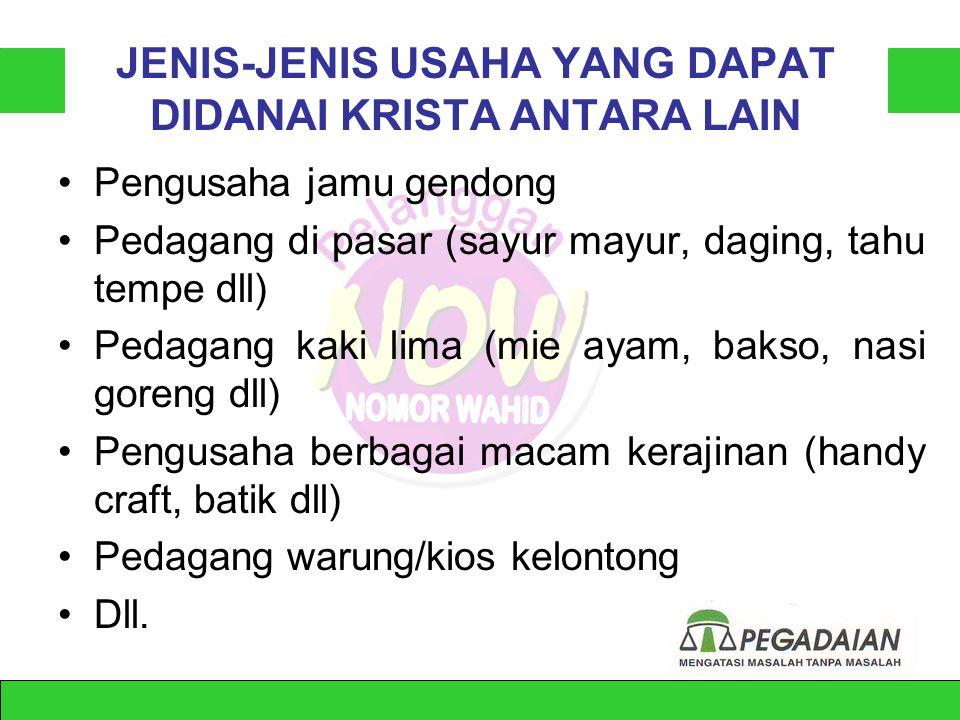 JENIS-JENIS USAHA YANG DAPAT DIDANAI KRISTA ANTARA LAIN