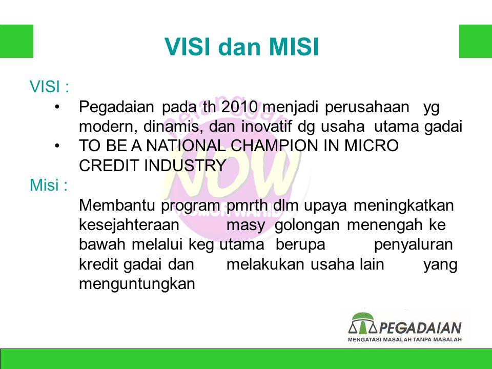 VISI dan MISI VISI : Pegadaian pada th 2010 menjadi perusahaan yg modern, dinamis, dan inovatif dg usaha utama gadai.