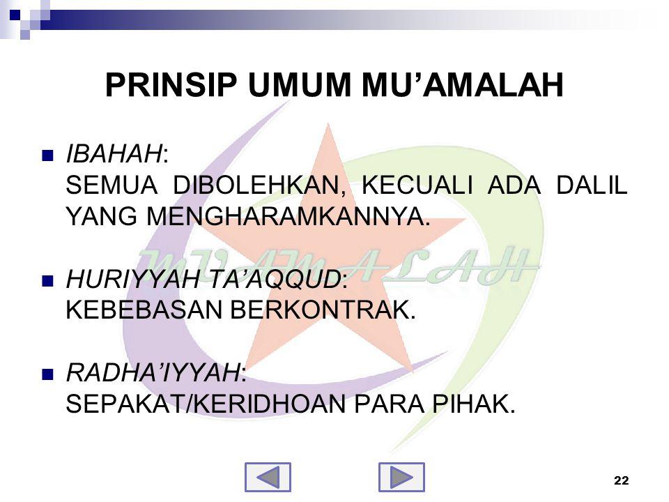PRINSIP UMUM MU'AMALAH (samb.)